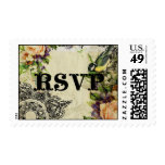 Postage Stamps RSVP - Yellow Song Bird Cage Floral