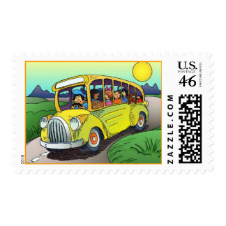 POSTAGE STAMPS SCHOOL BUS DRIVER STUDENTS