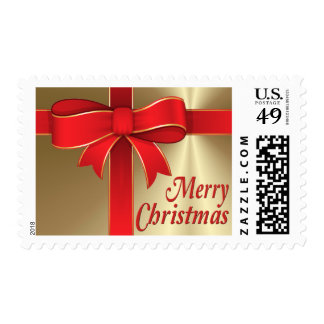 Postage Stamps - USPS - Red Bow & Ribbon on Gold