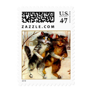 Postage Stamps Victorian Cats Winter Ice Skating