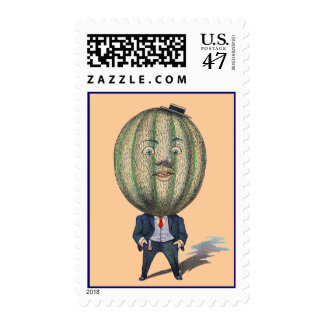 Postage Stamps Vintage Anthropomorphic Melon Man