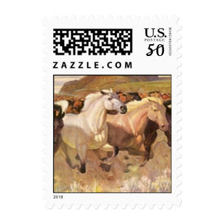 POSTAGE STAMPS WILD HORSES GALLOPING IN A CANYON