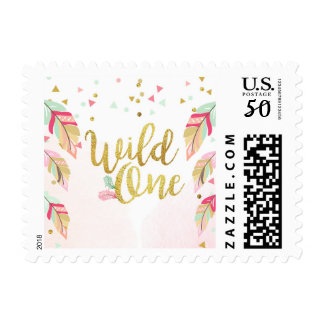 Postage Stamps Wild one Pink Gold feathers rustic