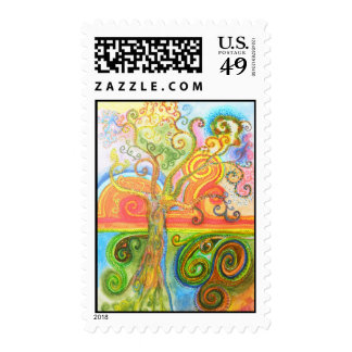 Postage Stamps with Psychedelic Tree Design