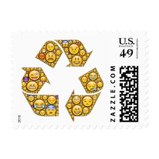Postage stamps with recycling emoji icons