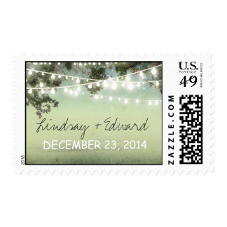 postage stamps with string lights