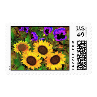 Postage Sunflowers And Pansies