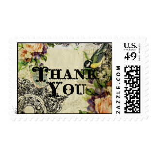 Postage Thank You  - Yellow Song Bird Cage Floral