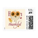 Postage thankful Thanksgiving Owl give thanks