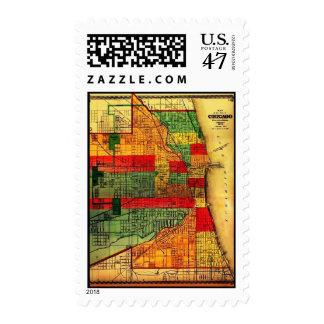 Postage-Vintage Maps-Chicago 1875 Postage