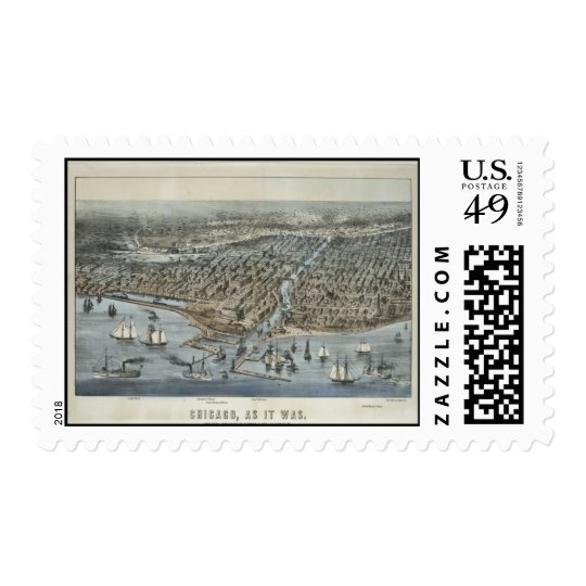 Postage-Vintage Maps-Chicago As It Was in 1872 Postage