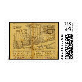 Postage-Vintage Maps-Chicago L Map Postage