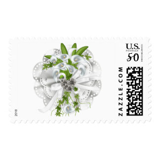 Postage White Wedding Calla Lilies Silver Rings