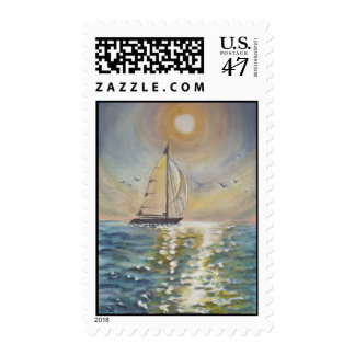Postage with an image of a sail boat