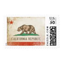 Postage with Distressed Flag from California