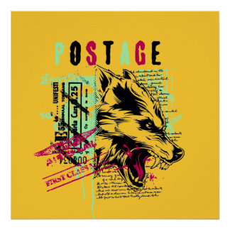 Postage wolf Poster
