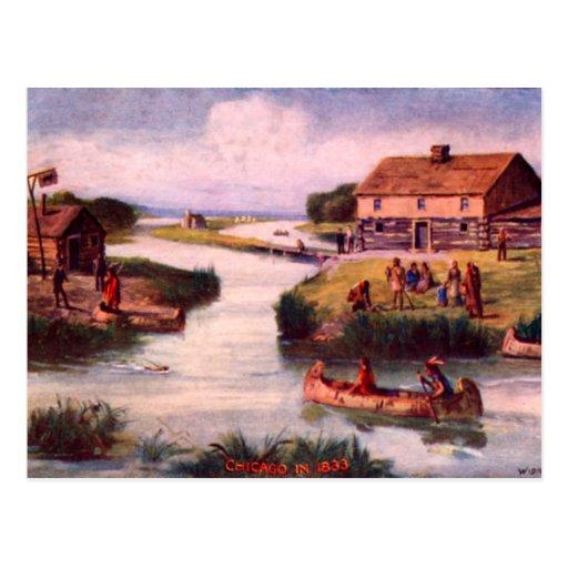 Postal 1833 de la frontera de Chicago