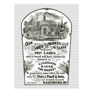 Postal 1867 del vintage del whisky de Baltimore