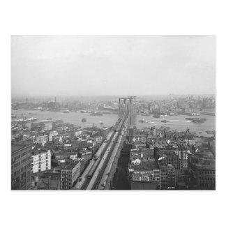 Postal 1901 del puente de Brooklyn