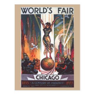 Postal 1933 del vintage de la feria de mundo de Ch