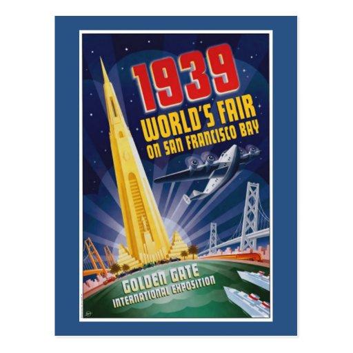 Postal 1939 del vintage de la feria de mundo de
