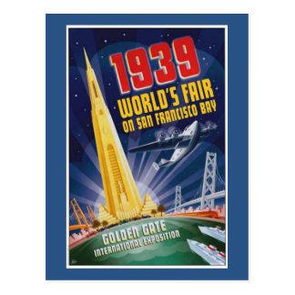 Postal 1939 del vintage de la feria de mundo de Sa