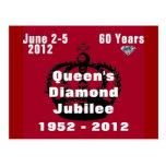 Postal 1952-2012 del jubileo de diamante del Queen