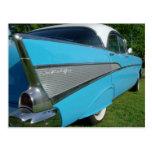 Postal 1957 de Chevy del azul