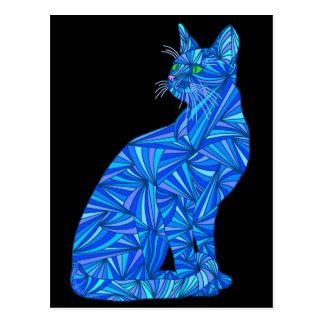 Postal abstracta azul colorida del artista del