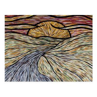 Postal abstracta del arte de la puesta del sol