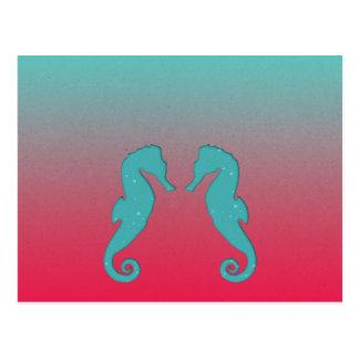 Postal acuática del amor de los seahorses de la
