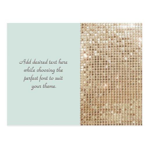 Postal adaptable de las lentejuelas del oro