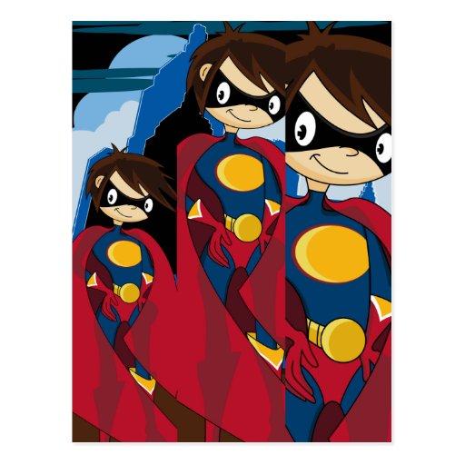 Postal adolescente del super héroe