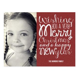 Postal adorable de la tarjeta de la foto del navid