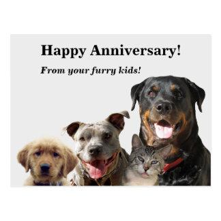 Postal adorable del aniversario de los mascotas