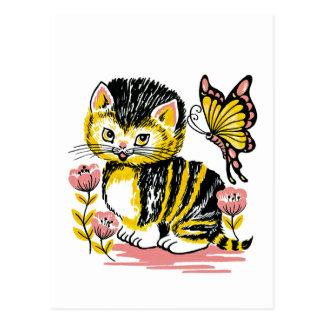 Postal adorable del gatito y de la mariposa