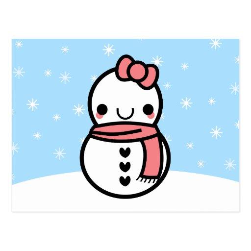 Postal adorable del muñeco de nieve del dibujo ani