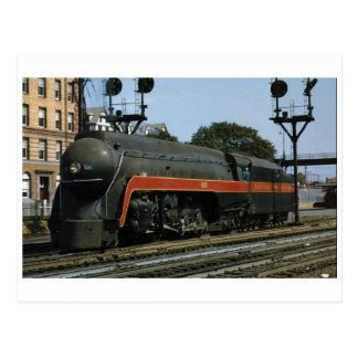 Postal aerodinámica de la locomotora de vapor del