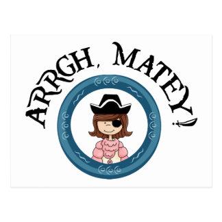 Postal afable del chica del pirata de Arrgh