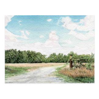 Postal aflautada del paisaje del camino del transb