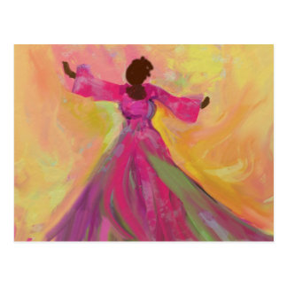 Postal africana del baile de la mujer