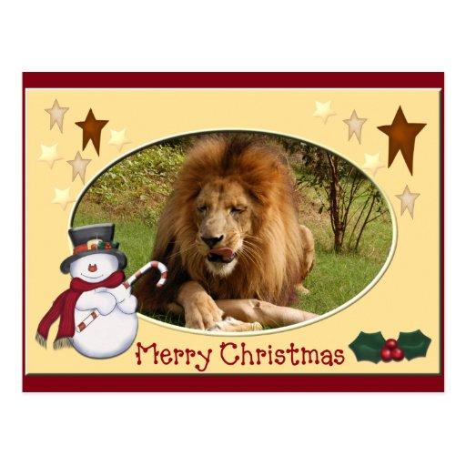 Postal africana del navidad del león