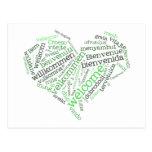 Postal agradable del corazón (muchas idiomas)
