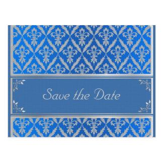 Postal--Ahorre la fecha Fleur azul claro Postal