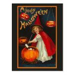 Postal alegre de la bruja de Halloween del vintage