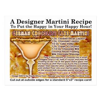 Postal alemana de la receta de Martini de la torta
