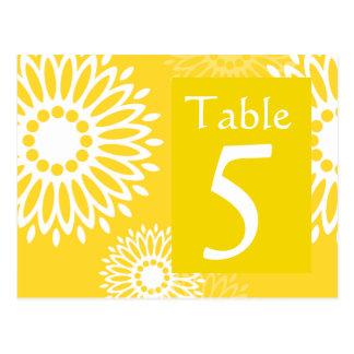 Postal amarilla del número de la tabla de la flor
