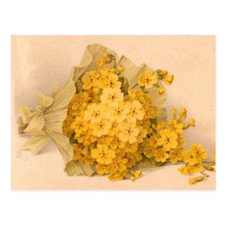 Postal amarilla del vintage de las flores del vint