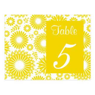 Postal amarilla floral del número de la tabla del