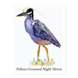 Postal Amarillo-Coronada de la garza de noche